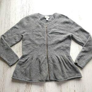Nordstrom Caslon Sweater Peplum Zip up Wool Blend